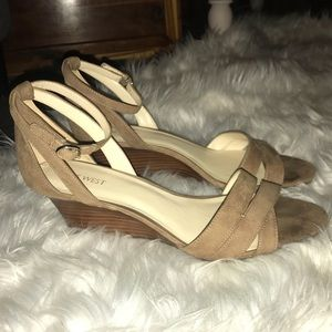 Taupe Tan Nine West Wedge Sandals